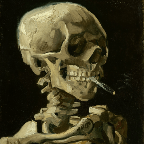 Head of a Skeleton with a Burning Cigarette Vincent Van Gogh Reproductions