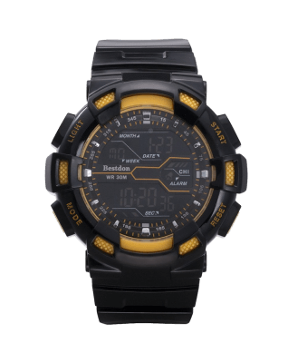 Bestdon Swiss Men's Sports Watches Digital Multifuction Display Time Yellow
