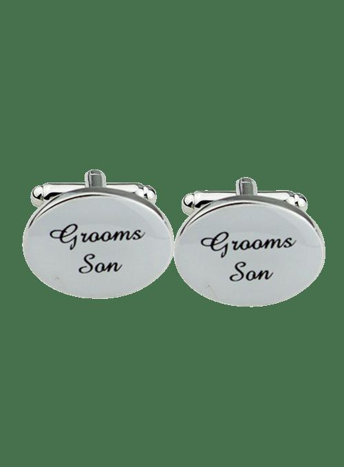 Silver Oval Wedding Cufflinks Groom