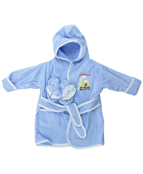 Spasilk-100%-Cotton-Hooded-Terry-Bathrobe-with-Booties,-Brown-Bear,-0-9-Months