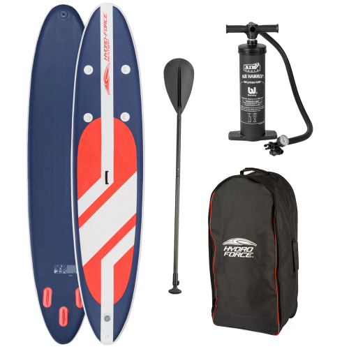 Hydro-Force-11-foot-Long-Tail-SUP-Large-Stand-Up-Paddleboard-Pump-Oar