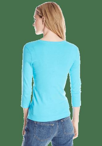 Three Dots Women's 3I4 Sleeve V-Neck