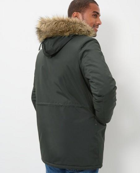 Faux Fur Trim Hooded Parka